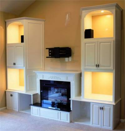 Entertainment Center Wall Unit Fire Fireplace White Paint