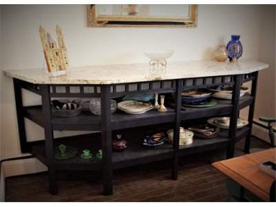 Side Table Buffet Black Paint Marble White Asian Influence