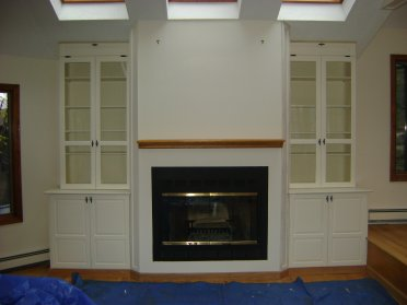 Living Room Family Fire Fireplace Mantle Cabinet Cabinets Storage
