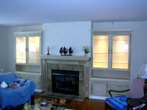 Living Room Family Wall Unit Fire Fireplace Storage Light Lighted Hearth Glass Shelf Shelves Door Drawers Built in