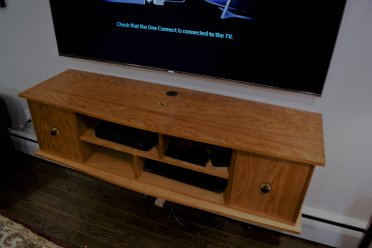 TV Entertainment Center Cabinet Cherry Inlay Floating Doors Storage